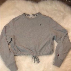 cropped crewneck sweater with drawstring waist